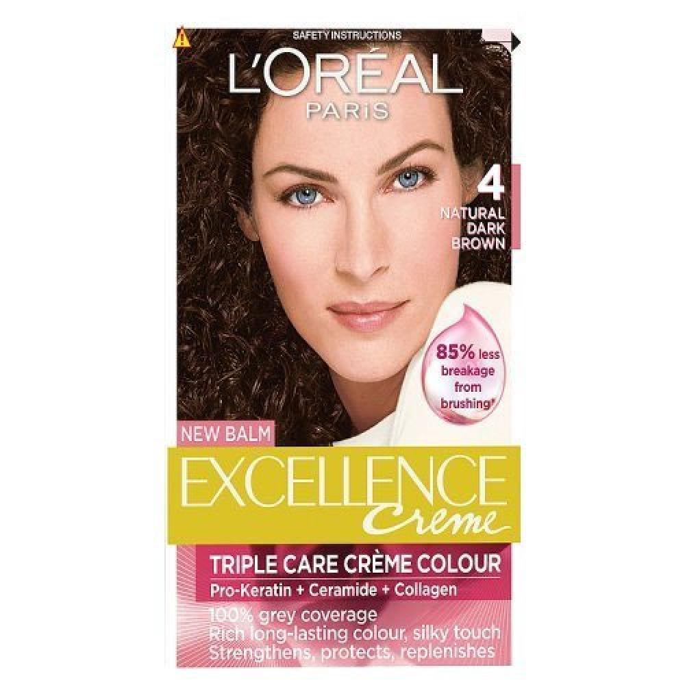LOreal Excellence Permanent Hair Colour 4 Natural Dark Brown