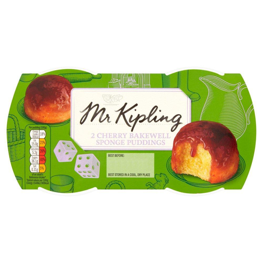 Mr Kipling 2 Cherry Bakewell Sponge Puddings 190g