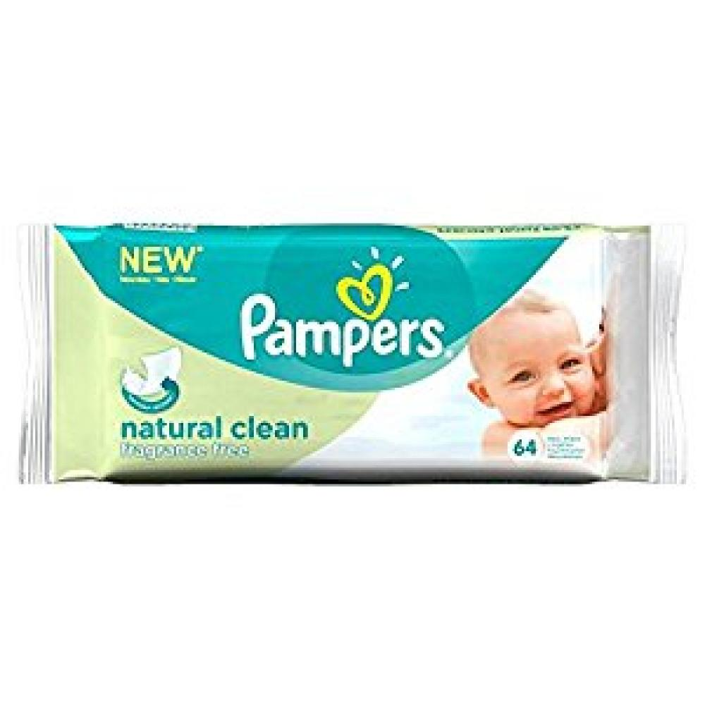 Pampers Natural Clean Baby Wipes Fragrance Free 64 Wipes