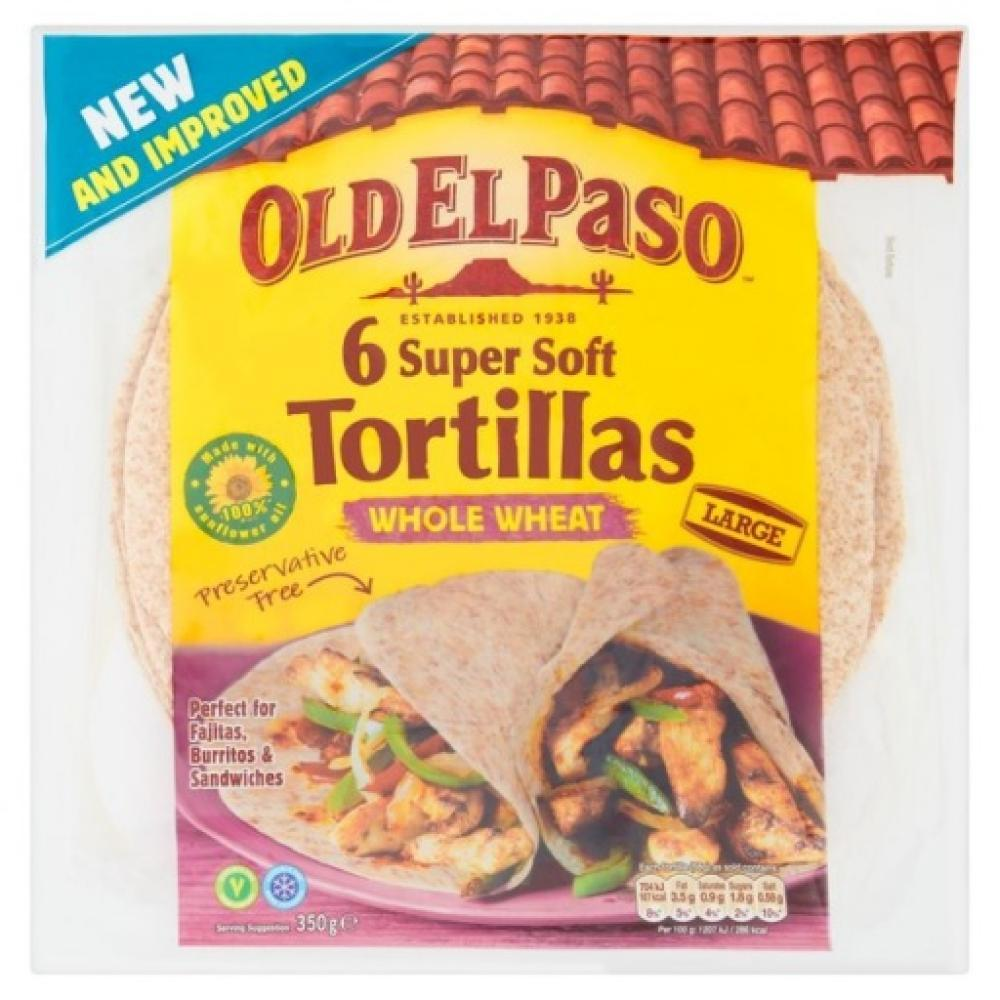 Old El Paso 6 Super Soft Tortillas Whole Wheat Large 350g