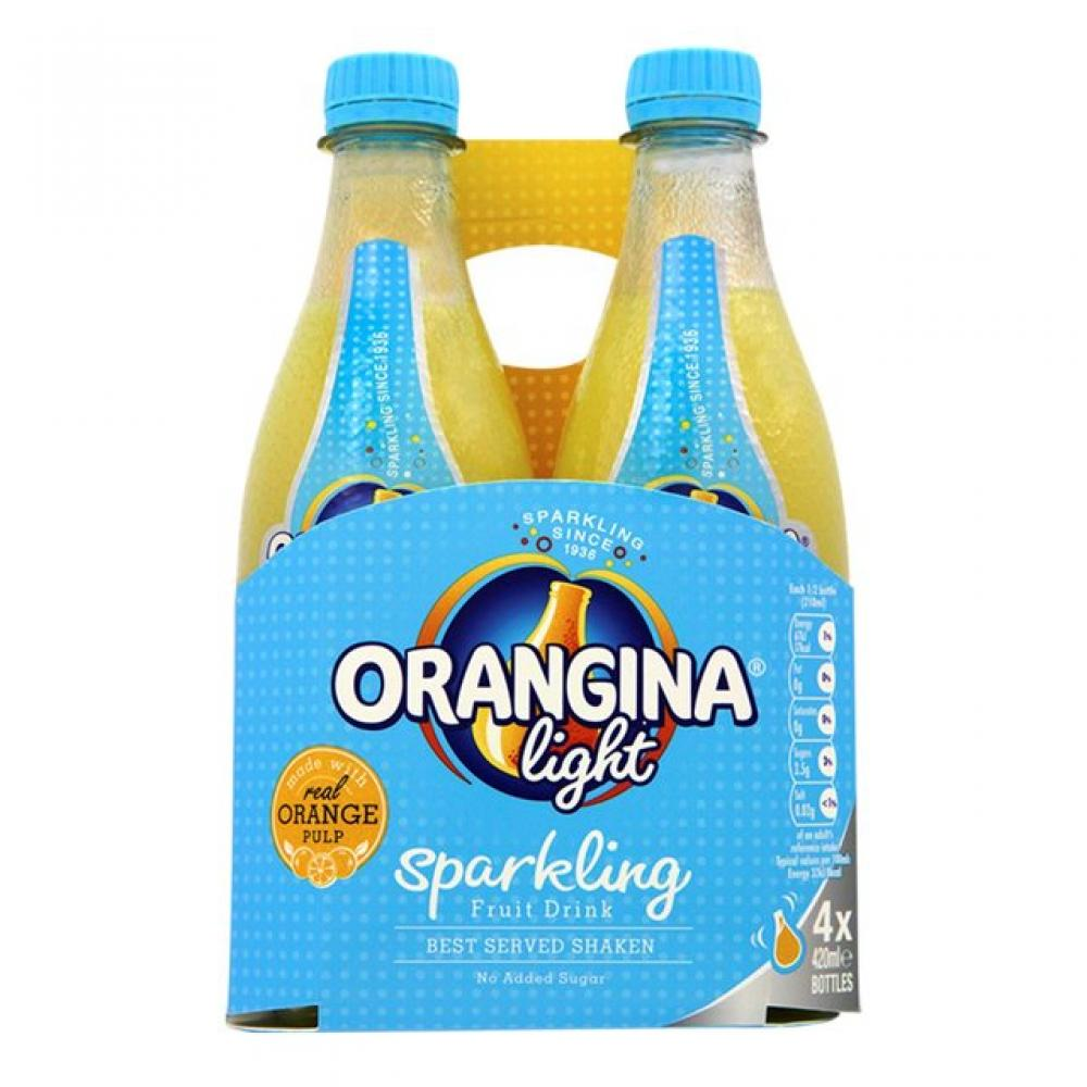Orangina Light Sparkling Fruit Drink 420ml x 4