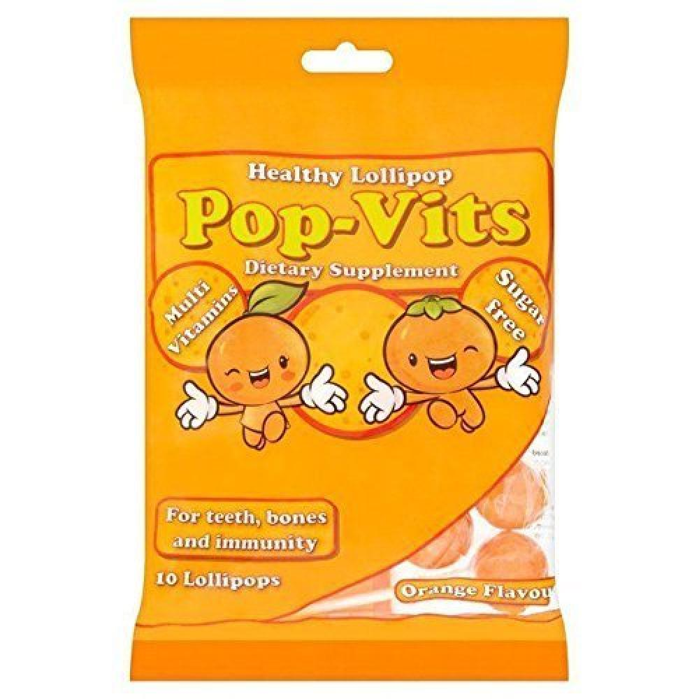 Pop-Vits Sugar Free Vitamin Orange Flavour Lollipops 100g