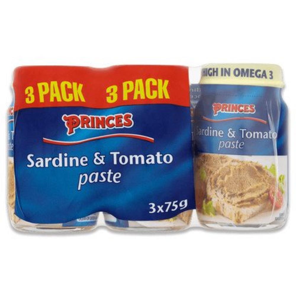 Princes Sardine and Tomato Paste 75g x 3