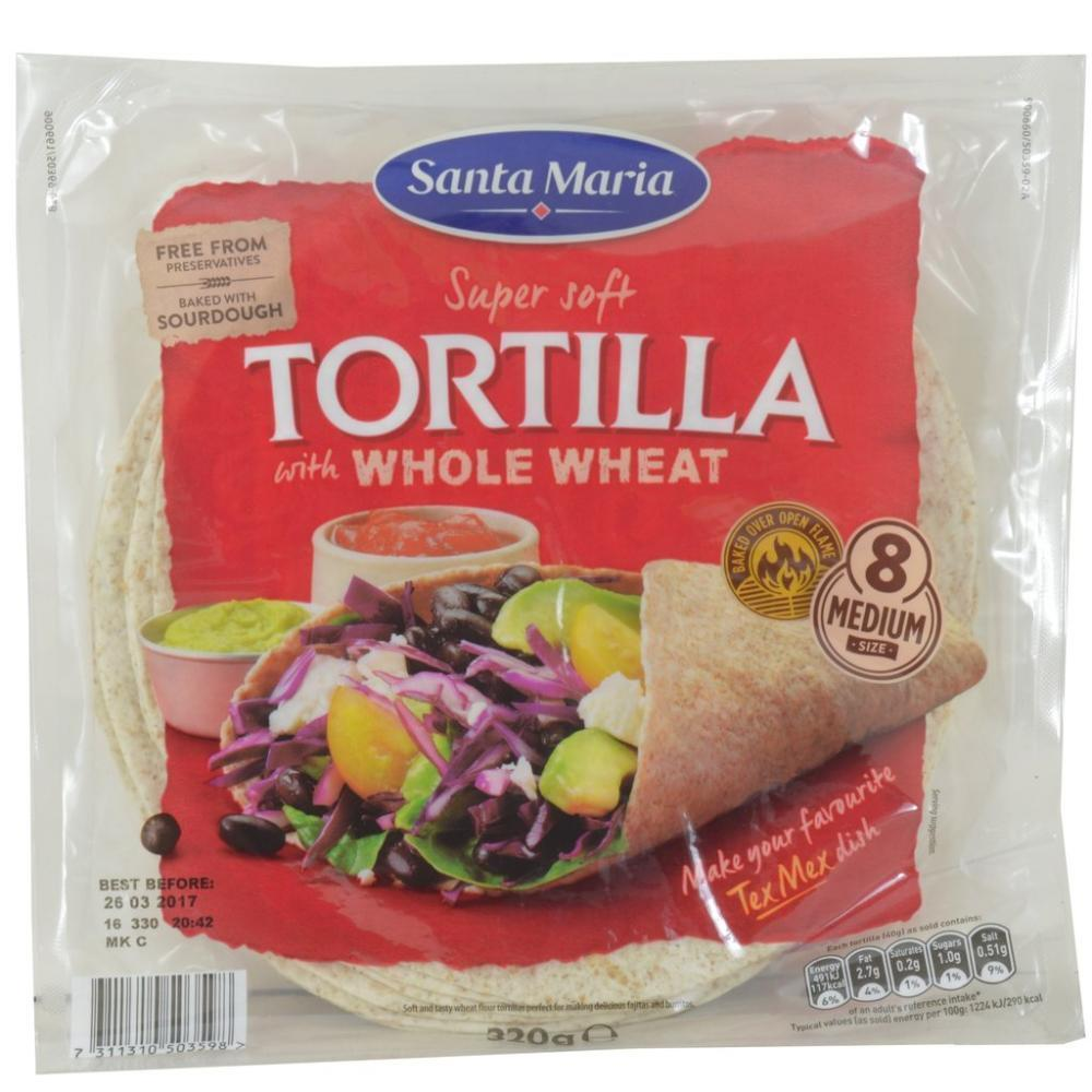 CLEARANCE  Santa Maria 8 Whole Wheat Soft Tortillas 320g