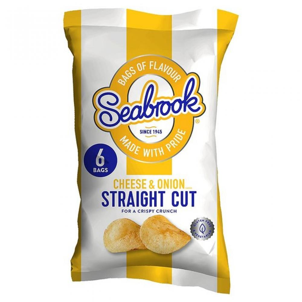 Seabrook Straight Cut Cheese and Onion Flavour Crisps 25g x 6