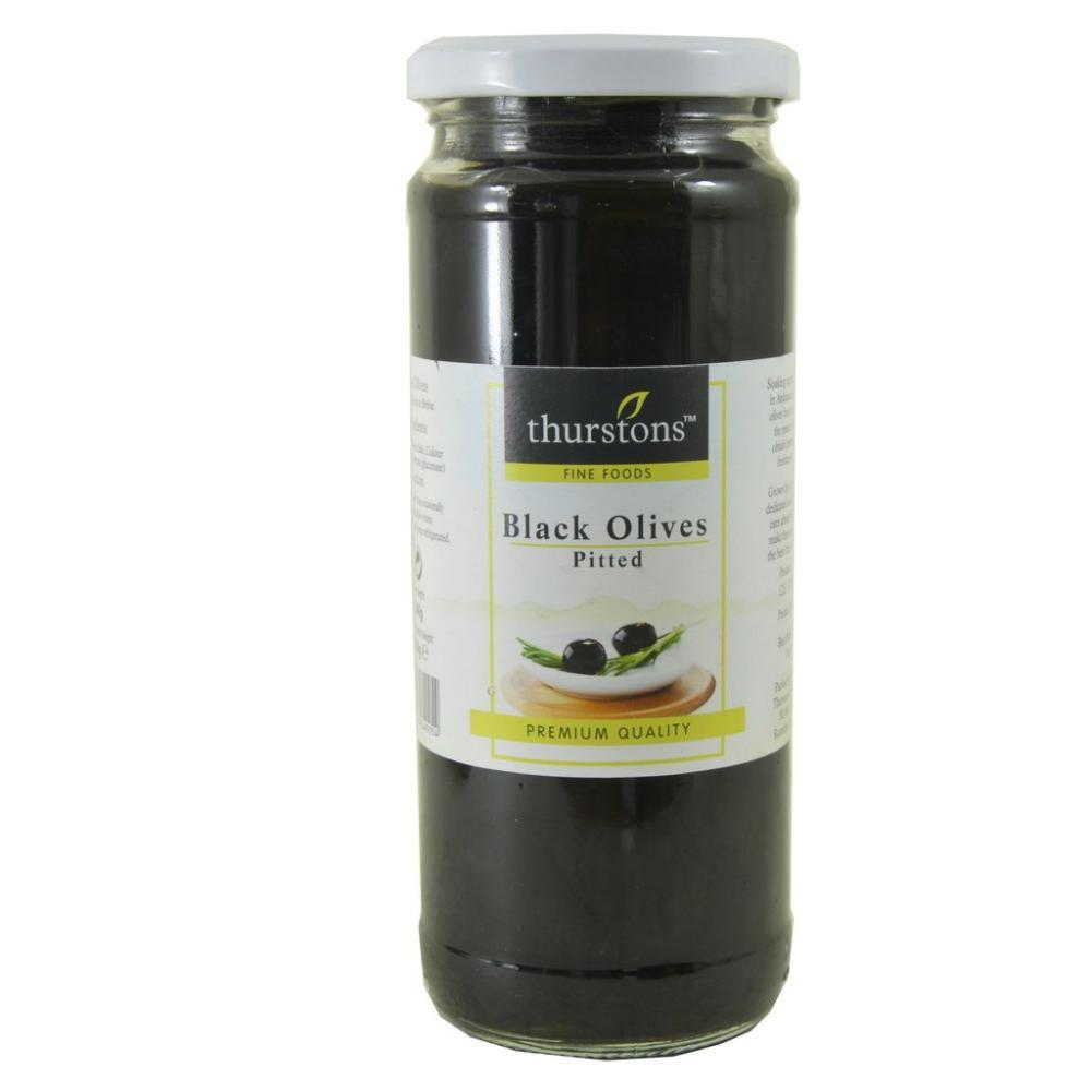 Thurstons Black Olives Pitted 440g