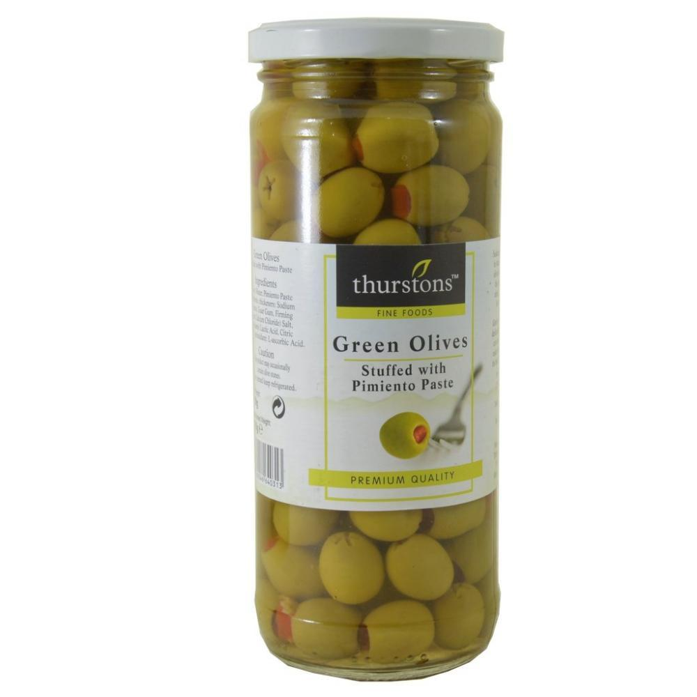 Thurstons Green Olives Stuffed with Pimiento Paste 450g