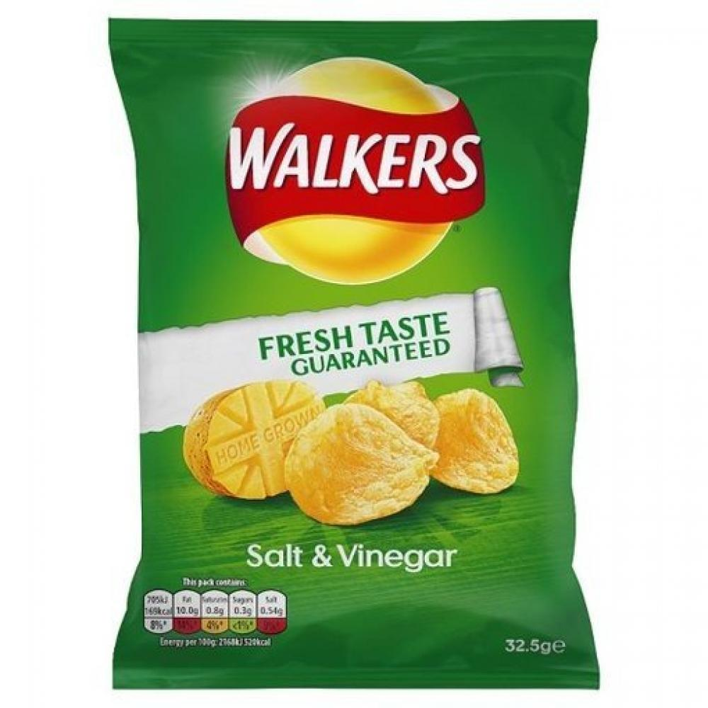 Walkers Salt and Vinegar Flavour Crisps 32.5g
