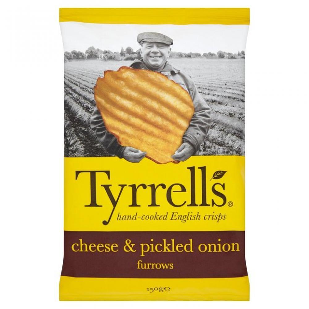 Tyrrells Furrows Cheddar and Onion 150g