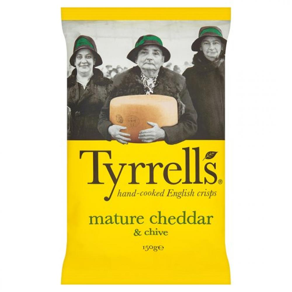 Tyrrells Mature Cheddar and Chives Flavour Crisps 150g