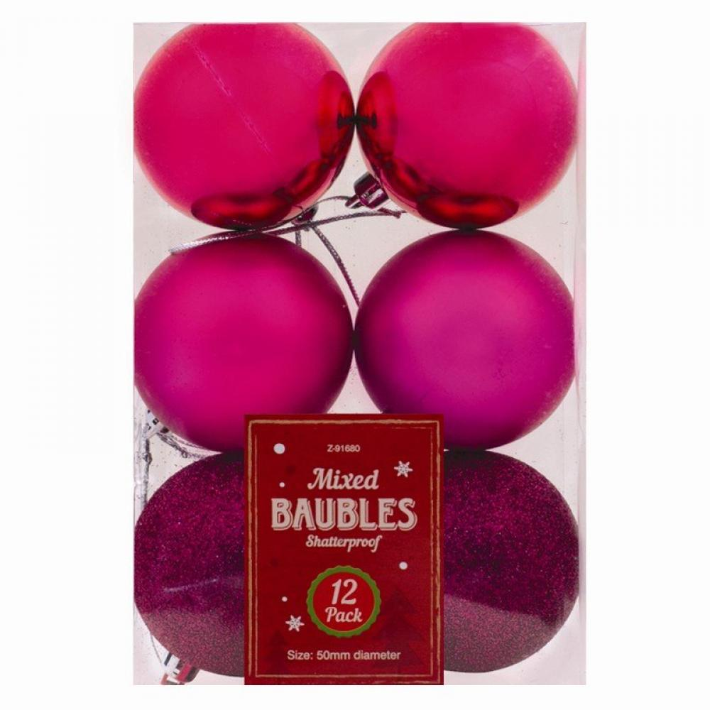 Unbranded Christmas Baubles 12 pack Pink