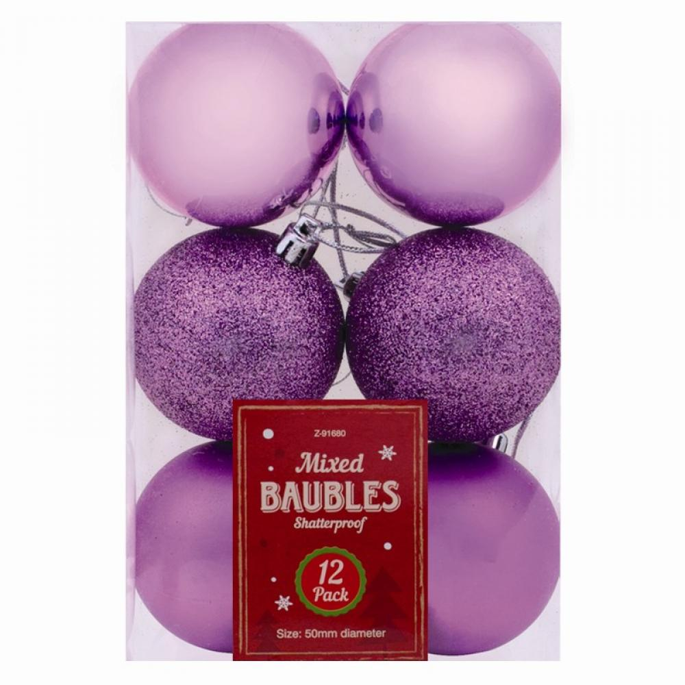 Unbranded Christmas Baubles 12 pack Purple
