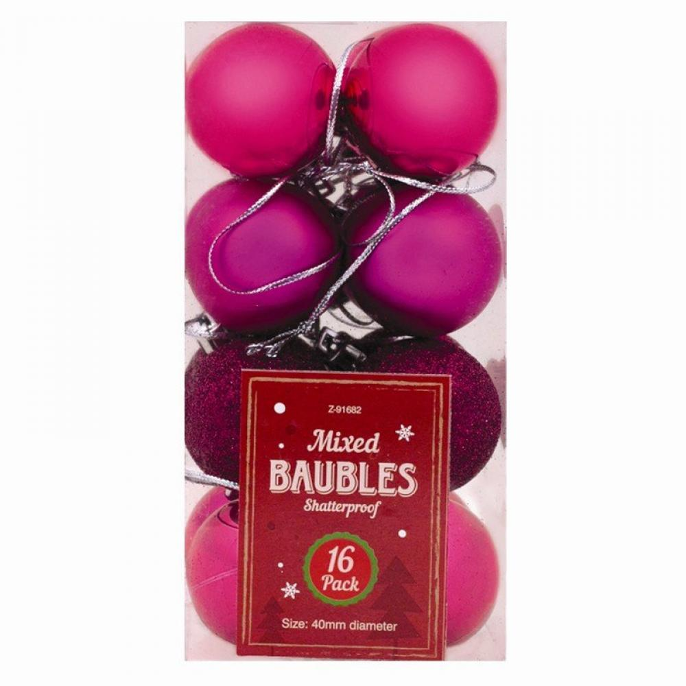 Unbranded Christmas Baubles 16 pack Pink
