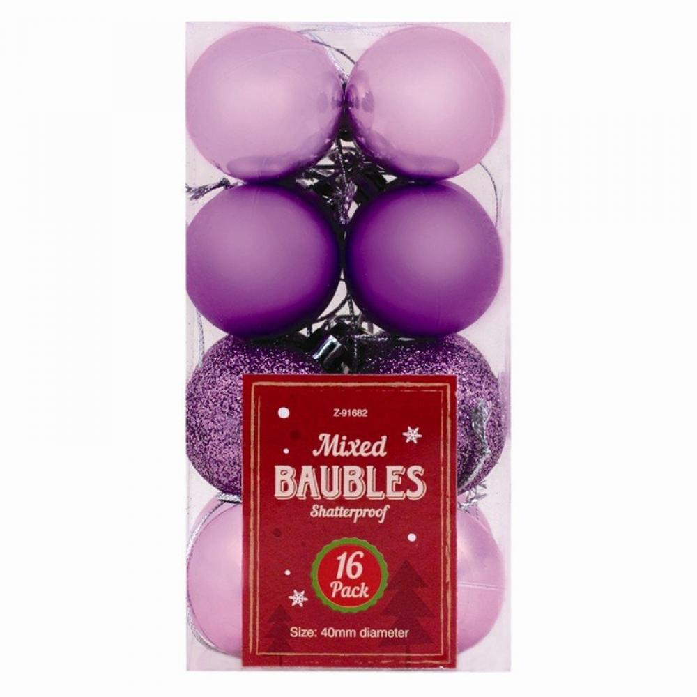 Unbranded Christmas Baubles 16 pack Purple