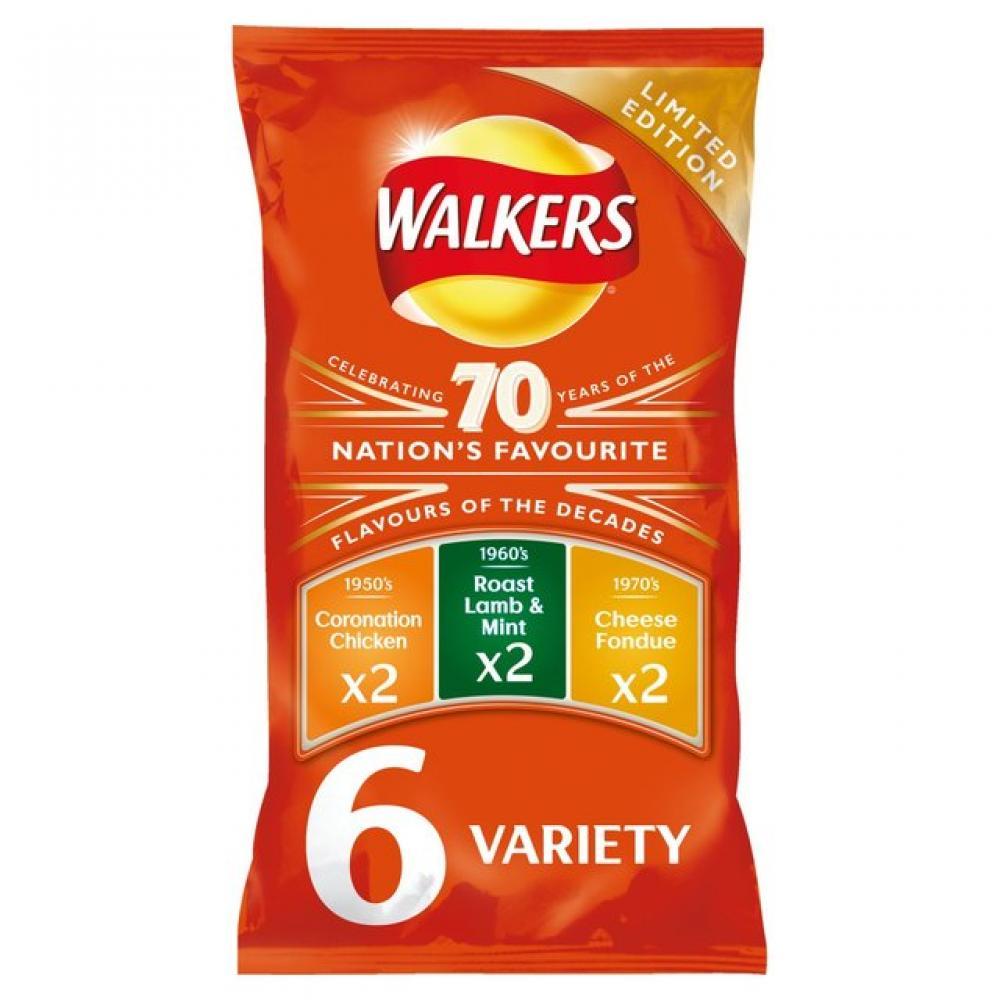 Walkers 70 Years Variety Pack 25g x 6