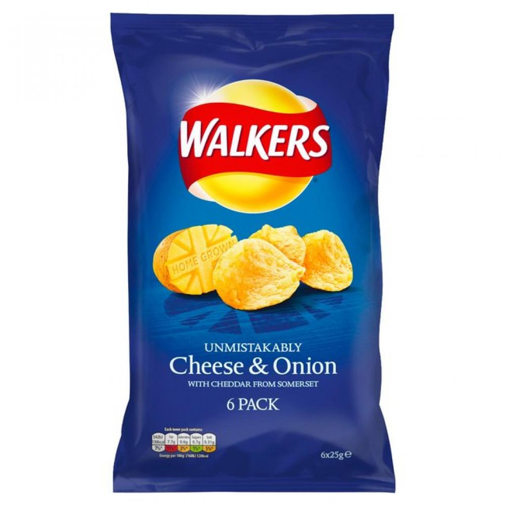Walkers Cheese and Onion Flavour Crisps 6 x 25g