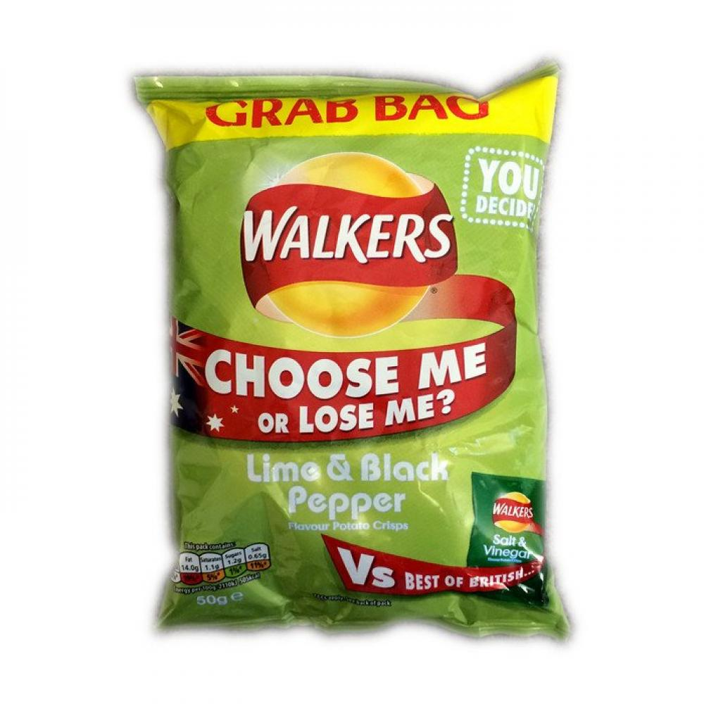 Walkers Lime and Black Pepper 50g
