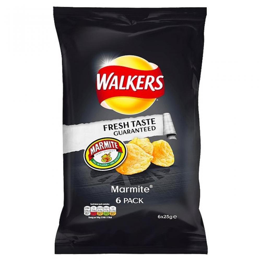 Walkers Marmite Flavour Crisps 25g x 6