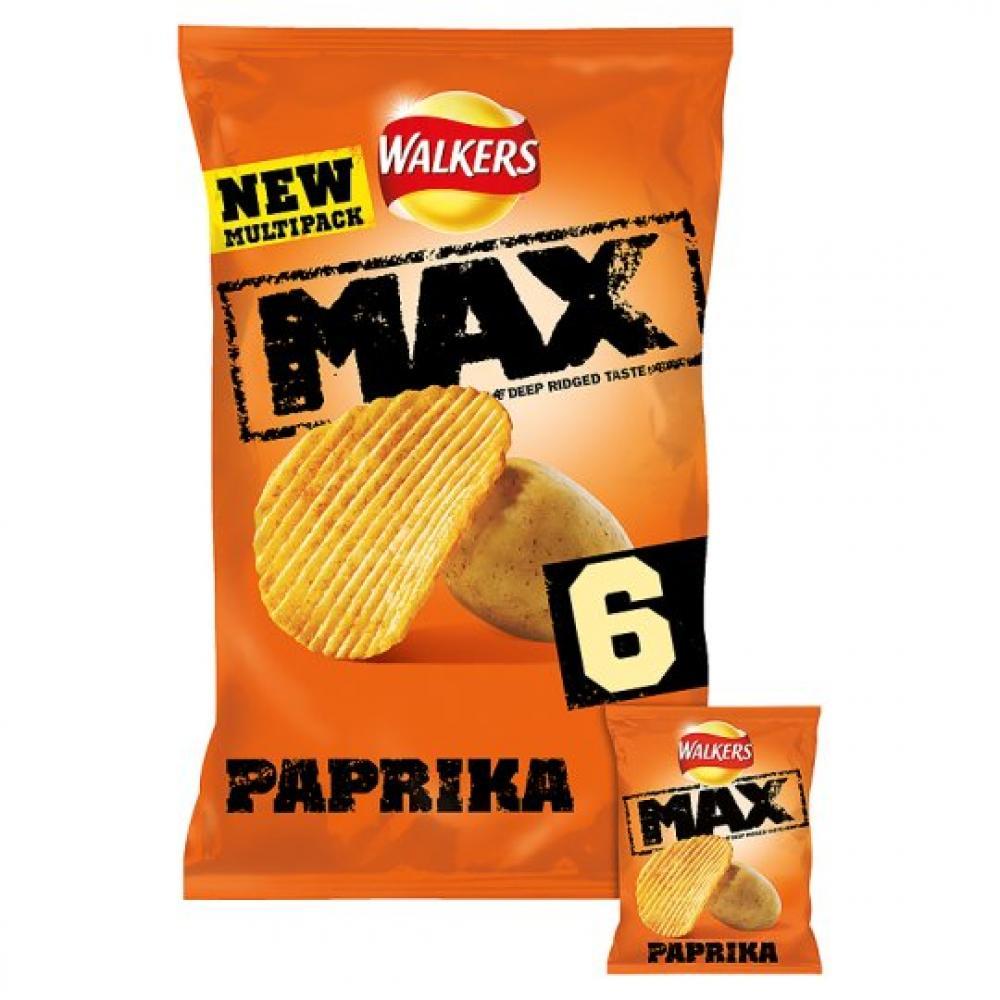 Walkers Max Deep Ridged Taste Crisps Paprika 27g x 6