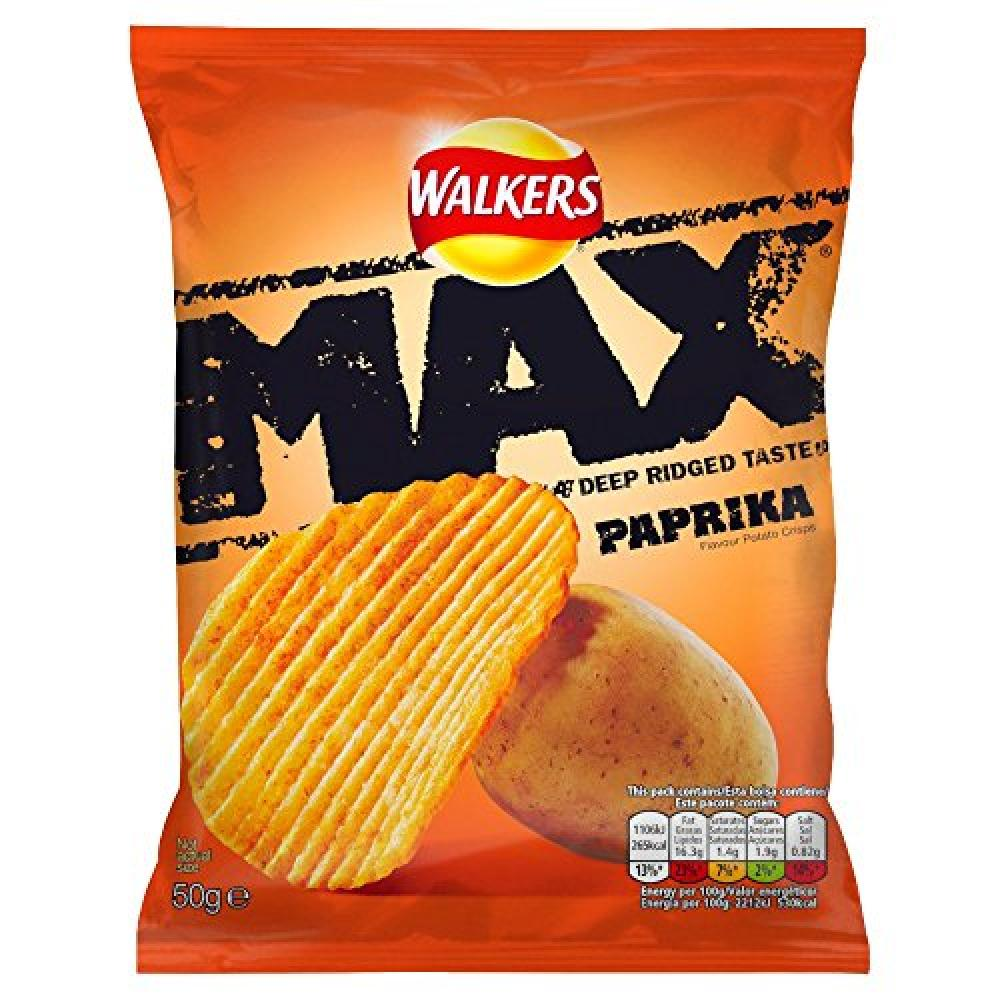 Walkers Max Deep Ridged Taste Crisps Paprika 50g