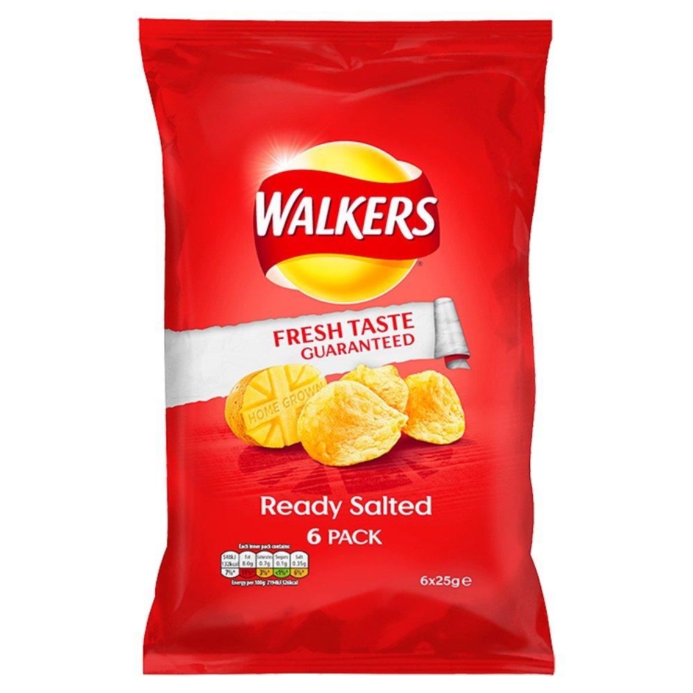 Walkers Ready Salted Flavour Crisps 25g x 6