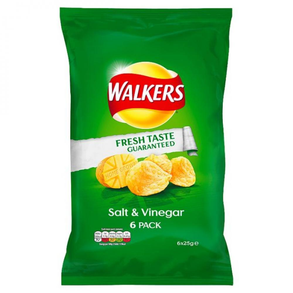 Walkers Salt and Vinegar Flavour Crisps 25g x 6