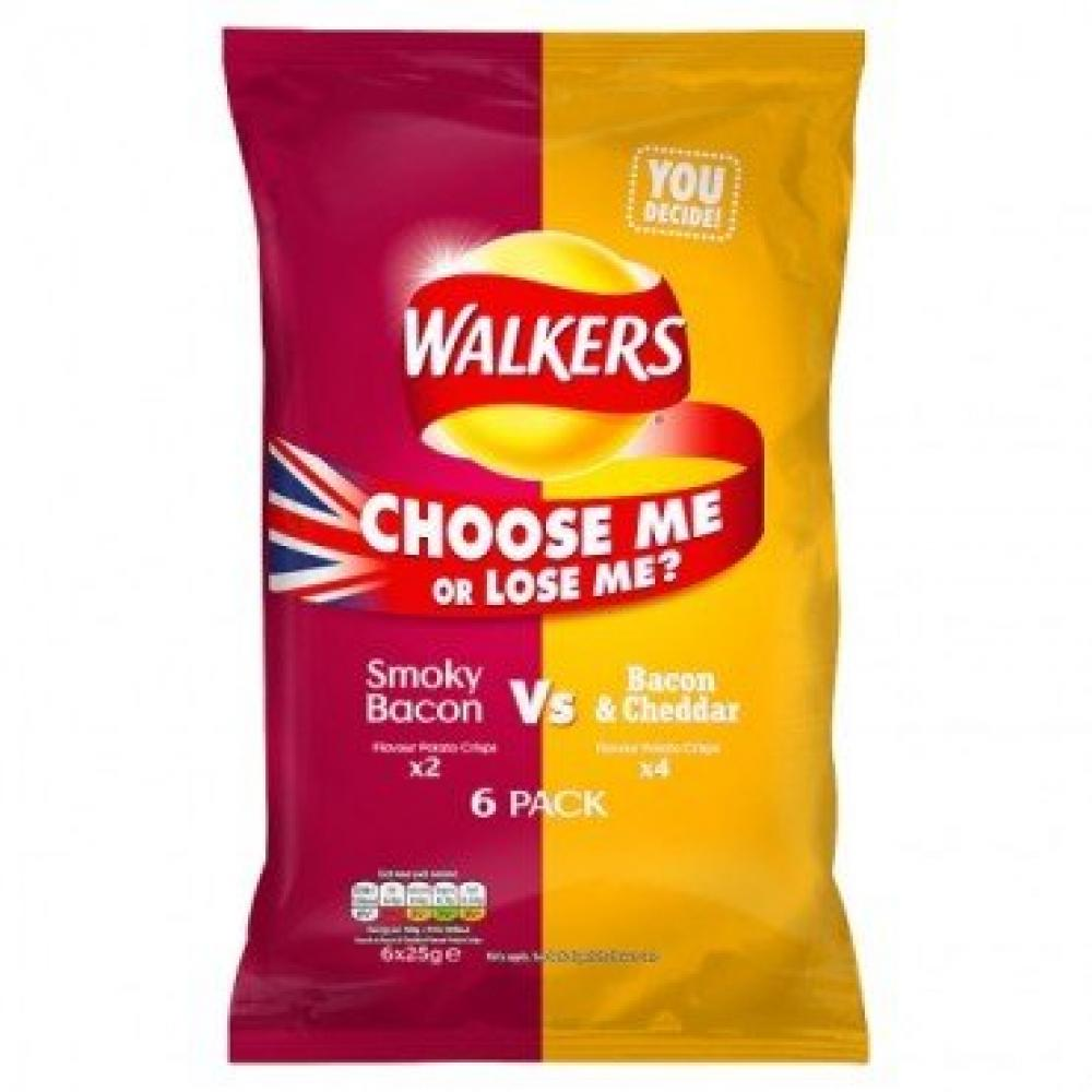 Walkers Smoky Bacon VS Bacon and Cheddar 25g x 6