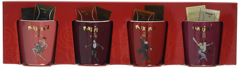 Maxims de Paris Gourmet Cups with Maxims Chocolate Squares Gift Set 4 cups