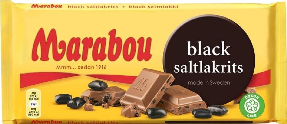 Marabou Black Saltlakrits - Milk Chocolate with Salty Liquorice 180g