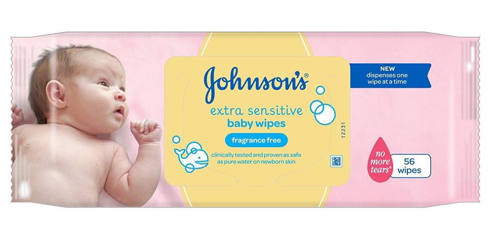 Johnsons Baby Extra Sensitive Fragrance Free Wipes 56 wipes