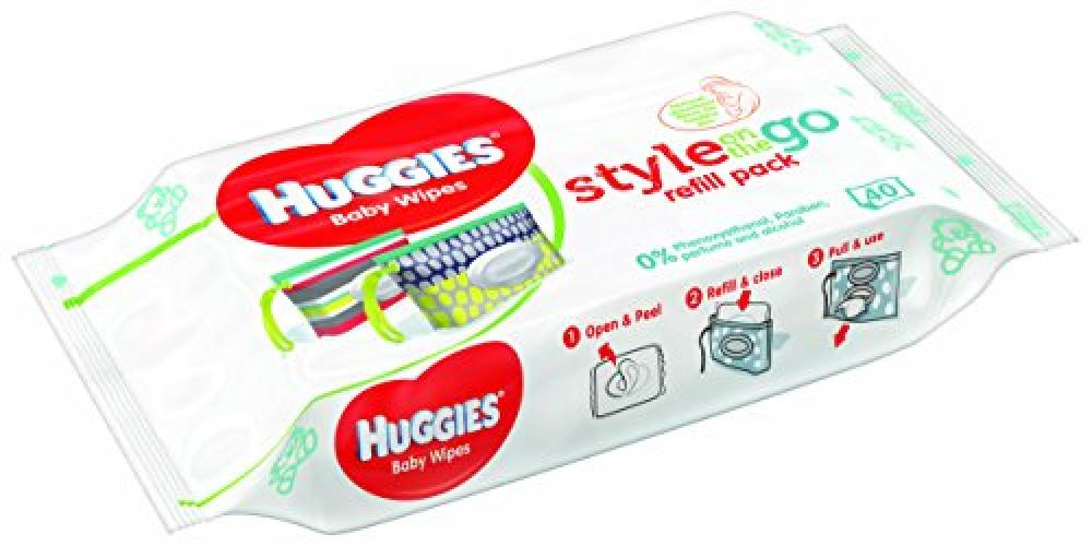 Huggies Style On The Go Refill Pack 40 wipes