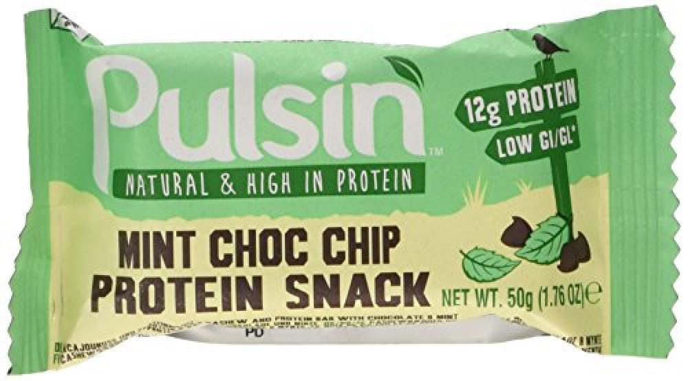 Pulsin Protein Snack - Mint Choc Chip 18 x 50g bars | Gluten Free | Vegan | Dairy Free