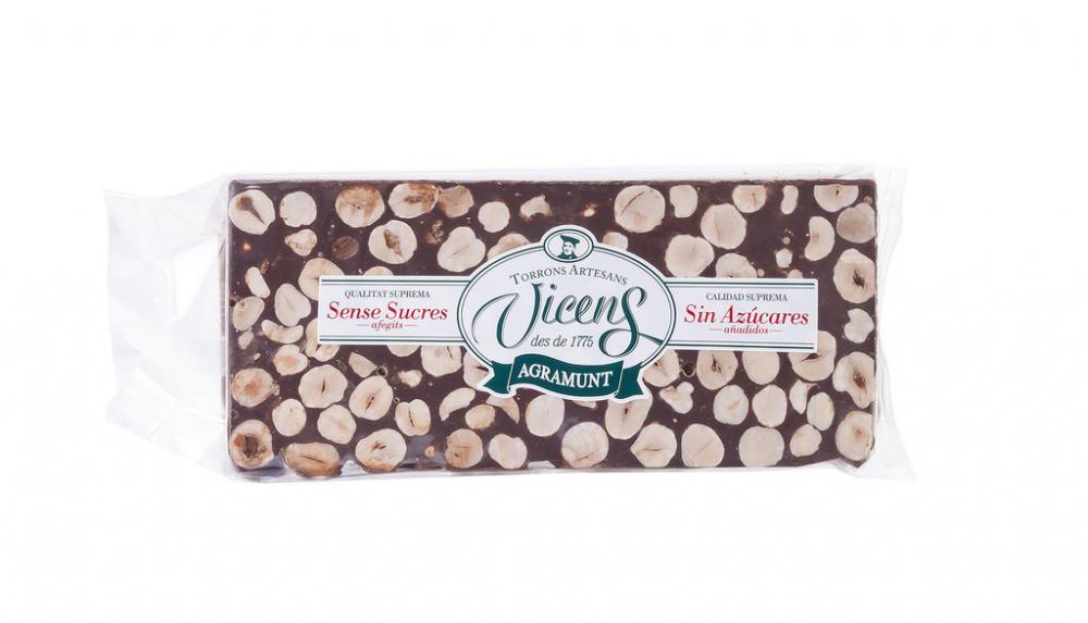 Vicens Sugar Free Bitter Chocolate Hazelnut Nougat 300g