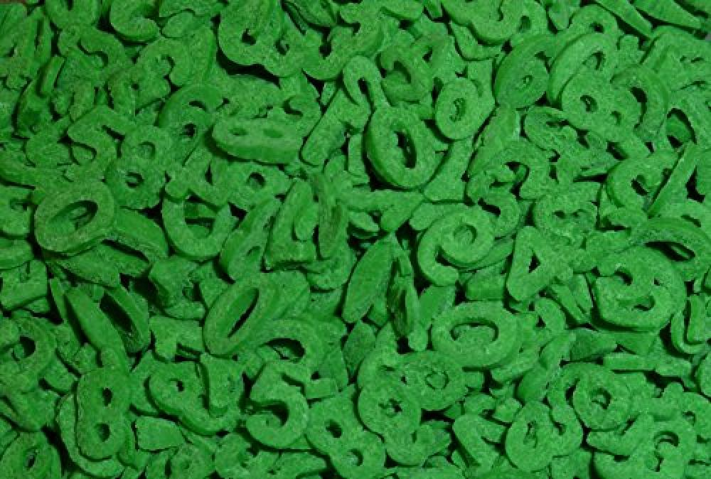 Quality Sprinkles Sugar Shapes Numbers Green 1 Kg