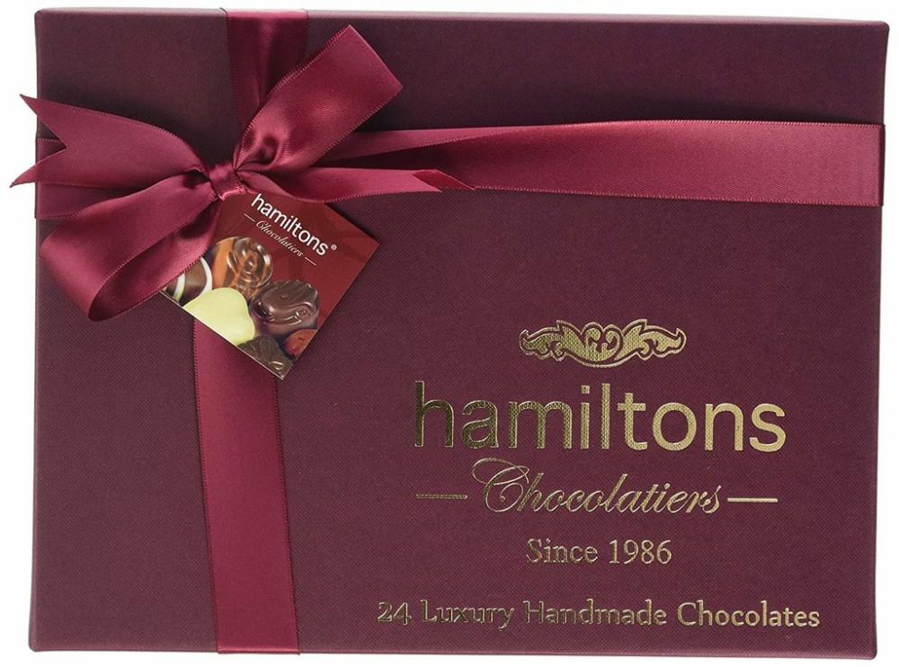 Hamiltons Burgundy Premium Luxury 24 Handmade Chocolates Gift Box 280g