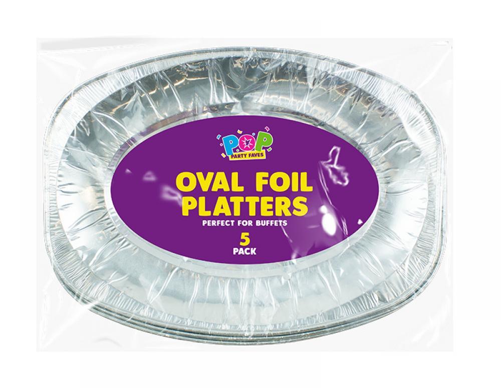 Pop Oval Foil Serving Platters 5 pack