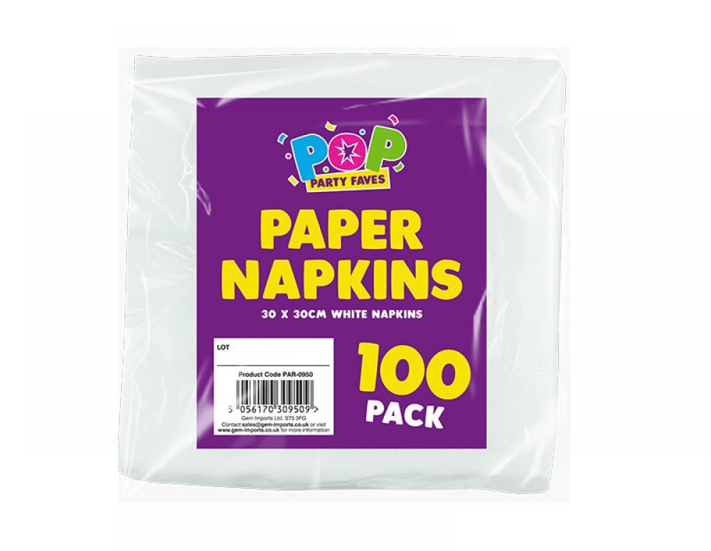 Pop White Paper Napkins 100 pack