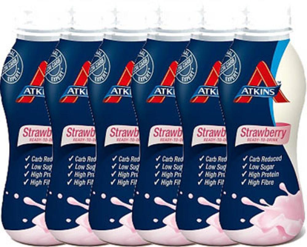 CLEARANCE CASE PRICE  Atkins Ready To Drink Strawberry Shake 6 x 330ml