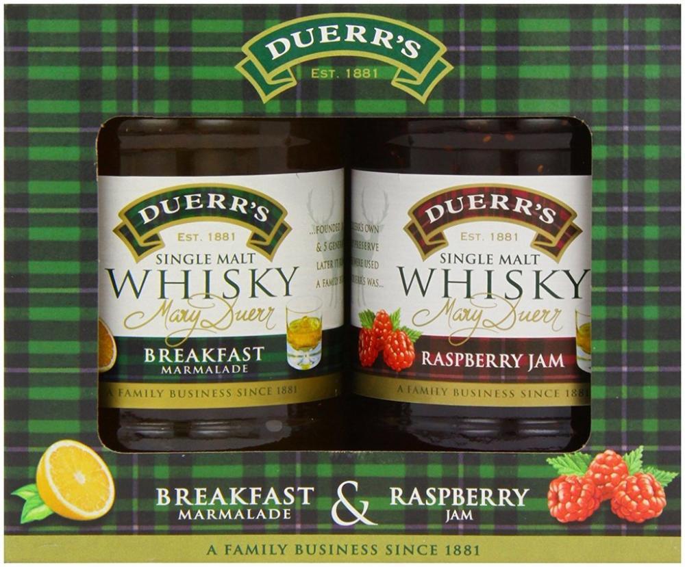 Duerrs Single Malt Whisky Preserves Gift Set - Breakfast Marmalade Raspberry Jam