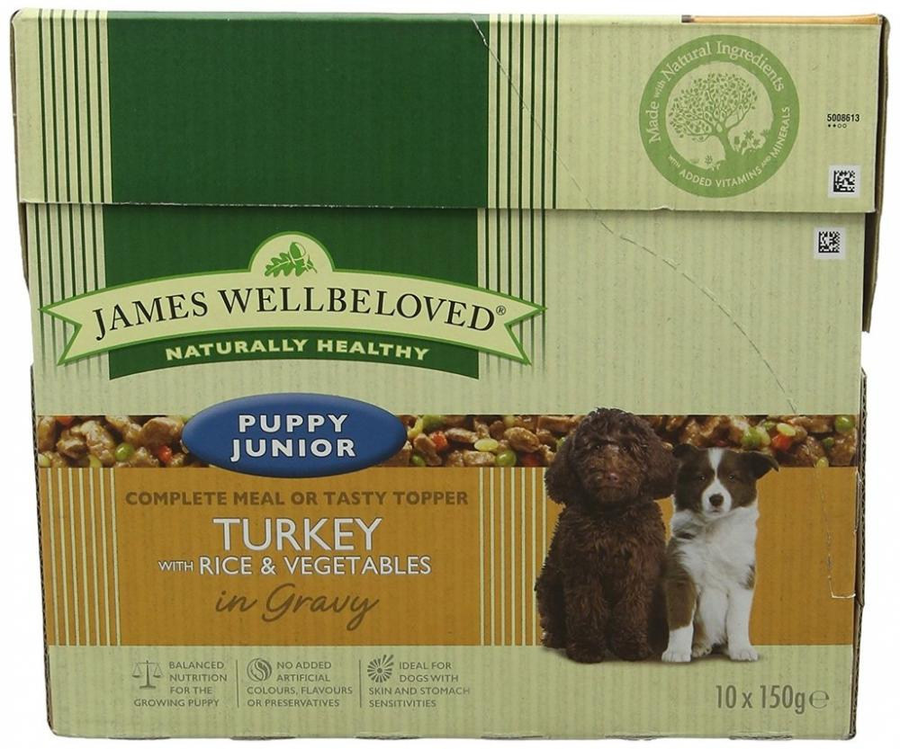 James Wellbeloved Dog Food Adult Pouch Turkey with Rice and Vegetables 10 Pouches x 150 g