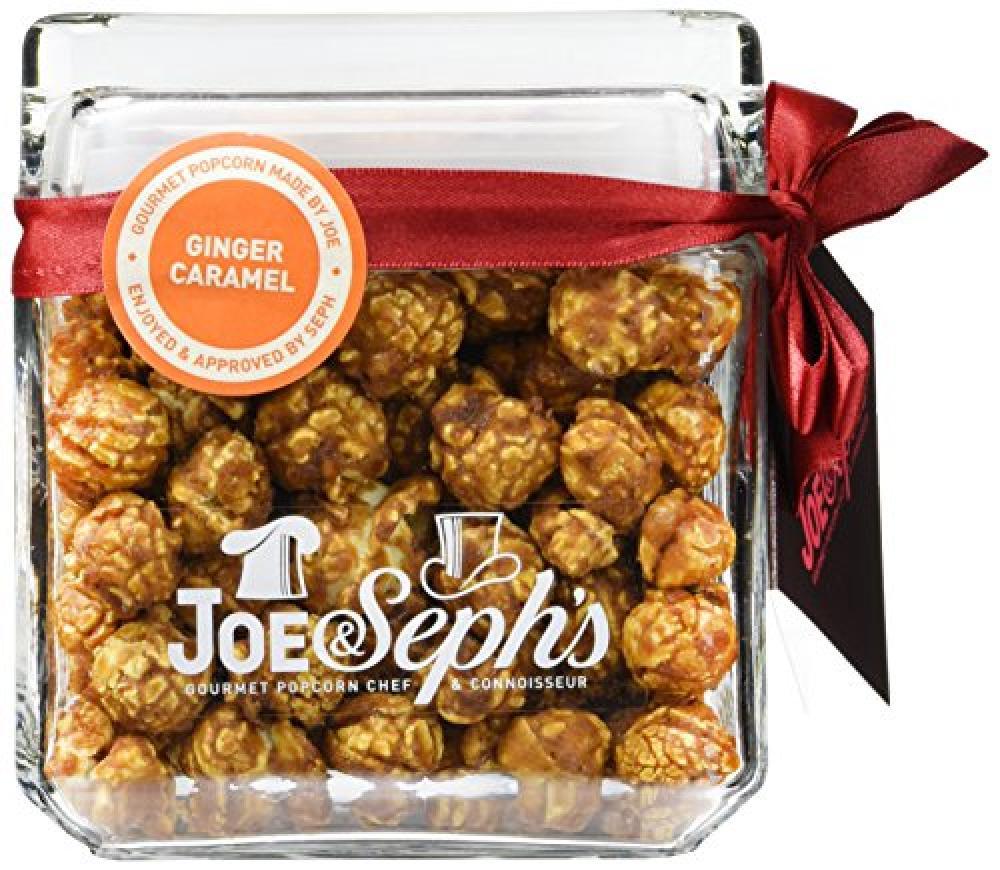 Joe and Sephs Square Glass Jar of Gingerbread Popcorn 140 g