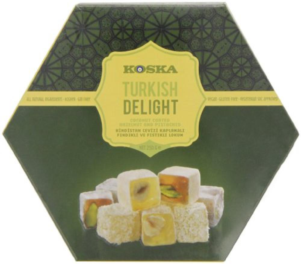 Koska Coconut Coated Hazelnut and Pistachio Turkish Delight 250g