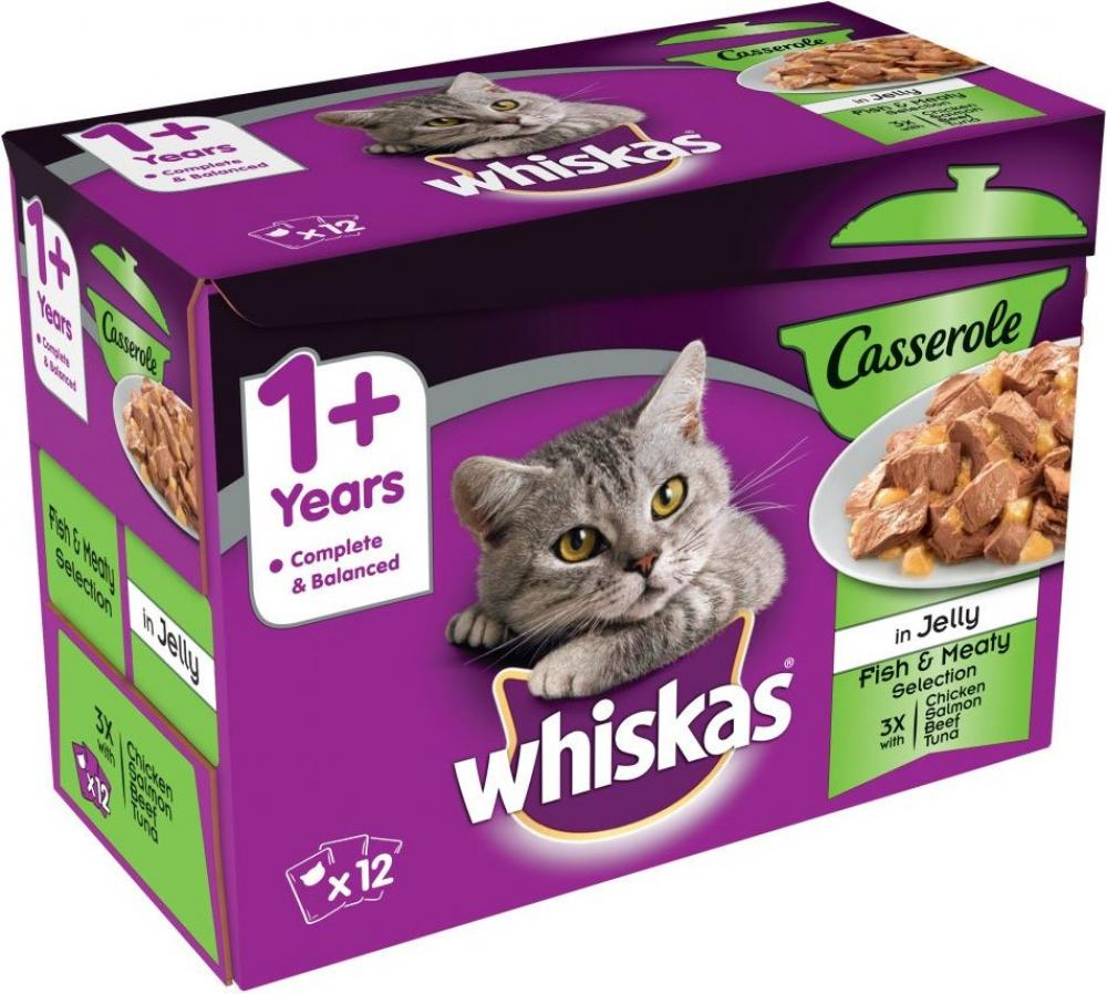Whiskas Wet Cat Food - Casserole in Jelly - Fish and Meaty Selection 12x85g