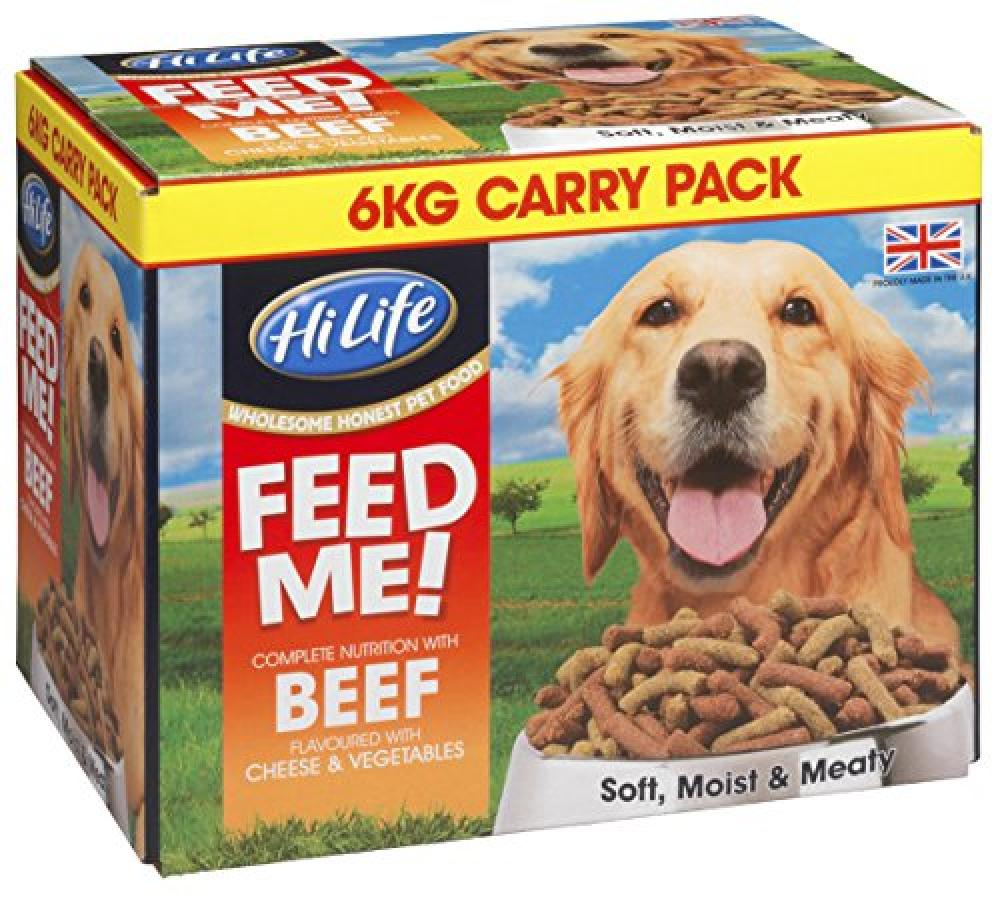 Hi Life Feed Me Dog Food Beef and Fresh Vegetables With Cheese 6kg Damaged Box