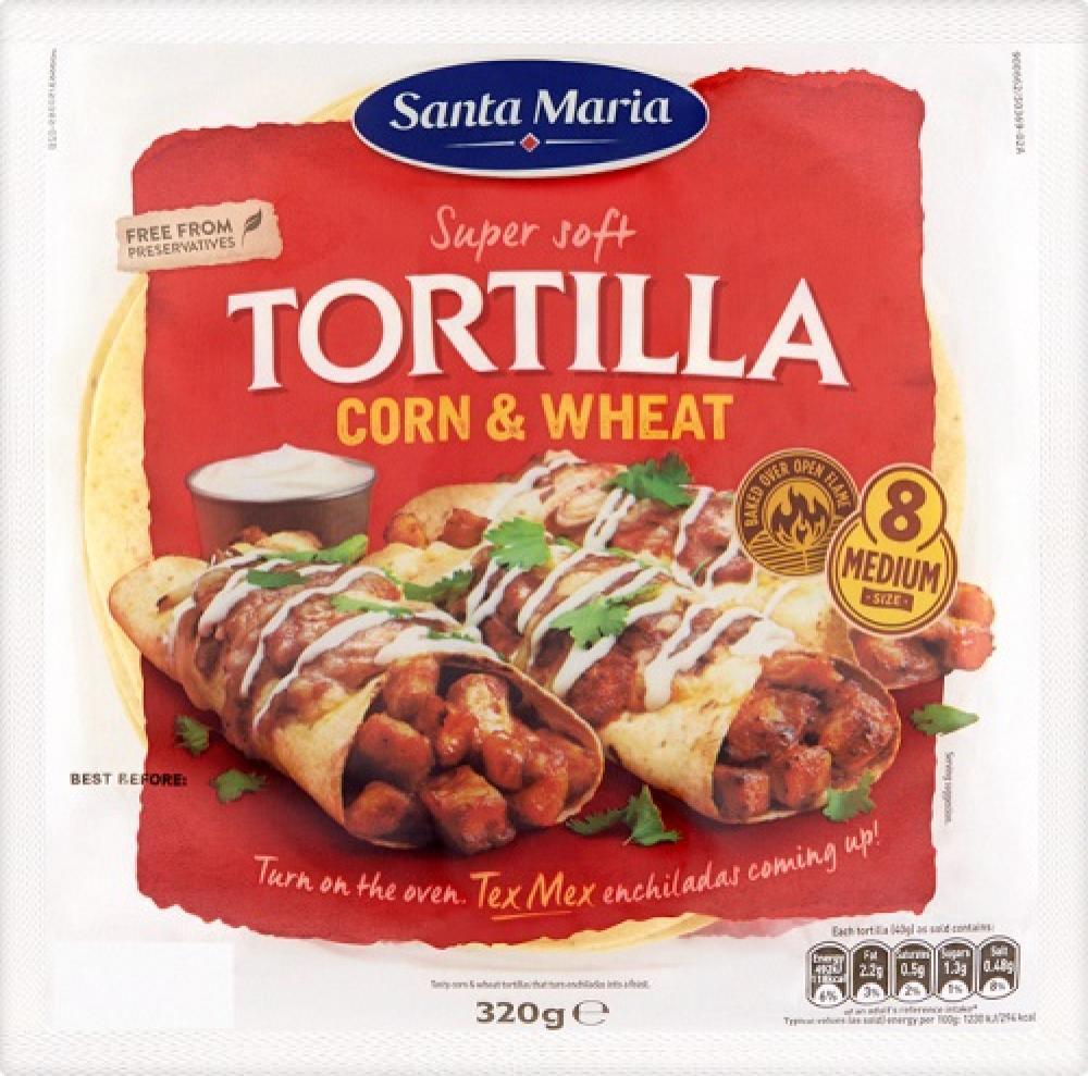 Santa Maria 8 Corn and Wheat Soft Tortillas 320g