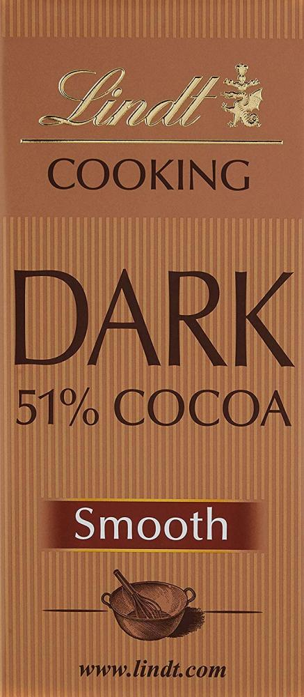 Lindt 51 Percent Cocoa Cooking Chocolate Bar 180g