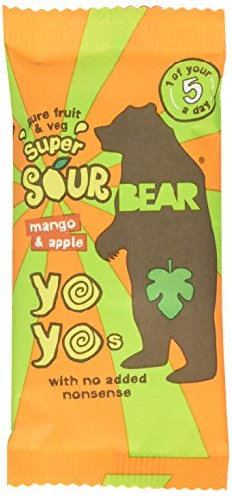 Bear Yo Yo Super Sour Mango and Apple Fruit Rolls 20g