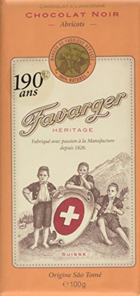 Favarger Heritage Dark Apricot Chocolate Bar 100g