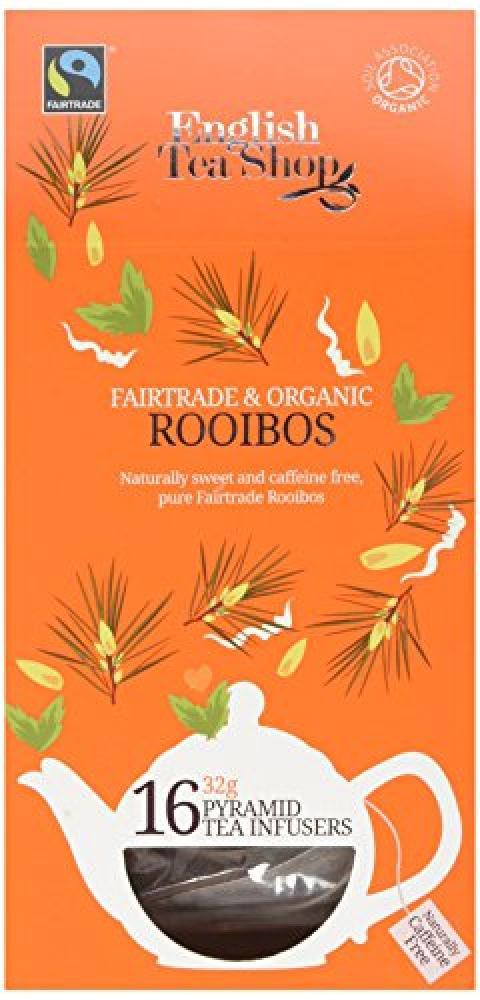 English Tea Shop Fairtrade and Organic Rooibos 16 Pyramid Teabags 32g