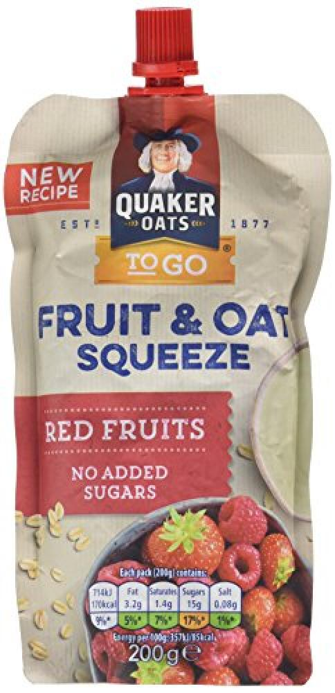 Quaker Fruit and Oat Red Fruits Flavour Squeeze 200g